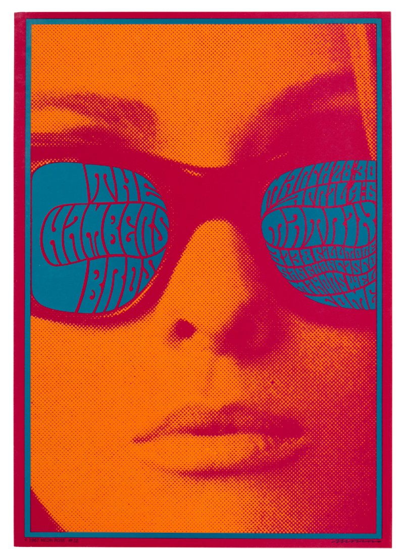 Saratoga Performing Arts Center Chromatic Scales: Psychedelic Design from the Tang Teaching Museum Collection June 26 -October.  Victor Moscoso, The Chambers Bros Concert Poster, 1967, screen print, 21 3/8 x 15 /4 x 5/8 inches, Tang Teaching Museum collection. Gift of Jack Shear.