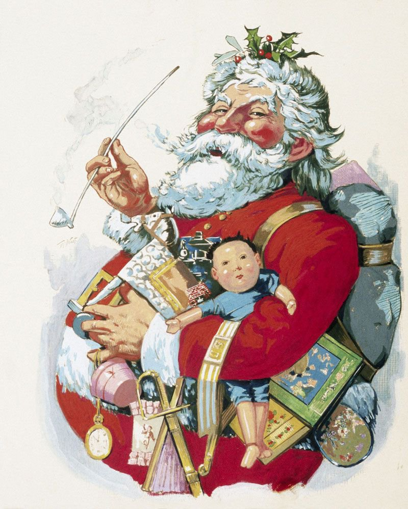 "Cartoonist Thomas Nast was the first to draw Santa Claus; his imagery heavily influencing how St. Nick is depicted today.  This cartoon ""Merry Old Santa Claus"" was seen in Harper's Weekly 1881."