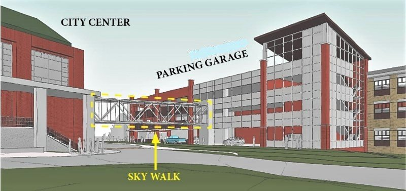 Design rendering of a segment of the City Center Parking Structure, as presented to the city last year.