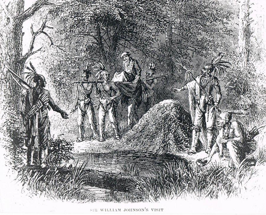 Illustration of Sir William Johnson's visit to High Rock Spring. Image from Bolster Collection.