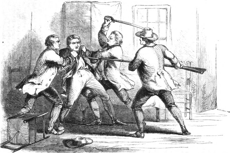 Illustration of the capture of British Loyalist spy Joseph Bettys in the Town of Ballston, New York, 1782. Originally published in United States Magazine, 1857.
