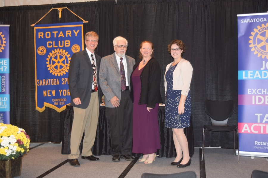 (Left to right) Rotary Foundation President Greg Grieco; and honorees Edward A Lenz, Maggie Fronk, and Rebecca Baldwin.