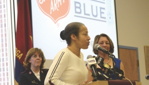 Salvation Army Captain Amber S. Boone, community activist Joy King, and Saratoga Springs Mayor Joanne Yepsen announcing last year that the Salvation Army on Woodlawn Avenue would house the city's Code Blue Facility.