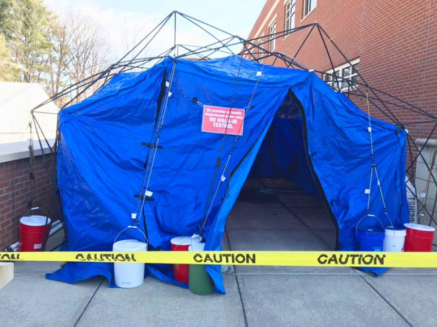 Specimen collection site for COVID-29 testing. The temporary biocontainment facility, located outside Alfred Z. Solomon Emergency Center on Myrtle Street, is the safest way to provide this service to the community.