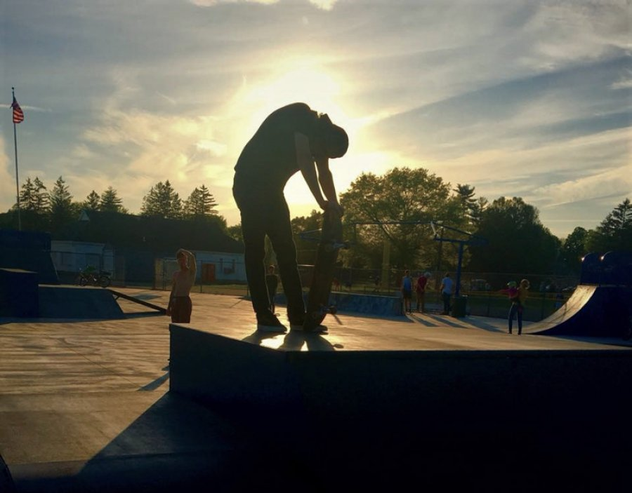 Skatepark in Saratoga Springs, at dusk on a Monday in May 2018. Photo by Thomas Dimopoulos.