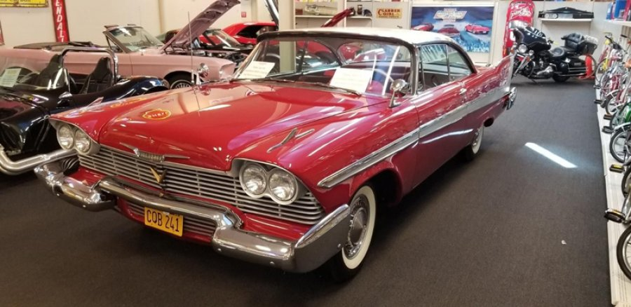 "1958 Plymouth Fury ""Christine."" Bearing ""her"" famous CQB 241 license plate, Christine – featured in the 1983 film directed by John Carpenter, and the Stephen King novel that bears her name – will be up for bid at the 2020 Saratoga Motorcar Auction."