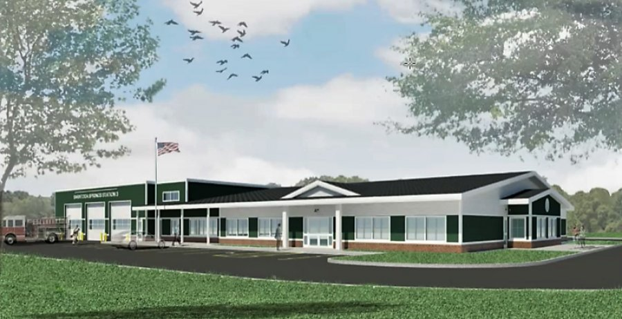 Schematic design of the proposed East Side Fire/EMS Station was presented to the city this week. Image provided.