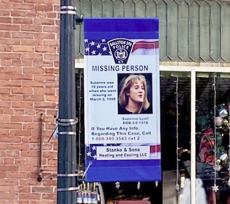 Banner in Ballston Spa portraying Suzanne Lyall,  who vanished without a trace in 1998. Photo by Mark Blech.