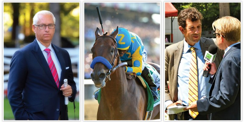 Todd Pletcher and Jack Fisher photos by Brien Bouyea. American Pharoah at the 2015 Belmont Stakes photo coutesy of NYRA.